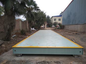 新安县万康建材一进一出双向150吨地磅施工案例